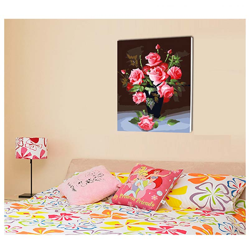Wall Decoration Romantic Rose Picture Painting by Numbers Handwork Gift Size 40x50 cm ML-HQYH-030(China (Mainland))
