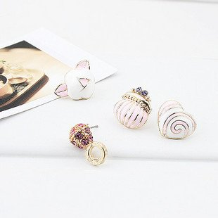 Free shipping, Wholesale exquisite cute flower heat stud earrings, Fashion women's costume jewelry(China (Mainland))