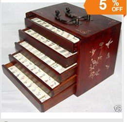 144 Tiles Bamboo/ Mah Jong Set and Rosewood Box 100% free shipping(China (Mainland))