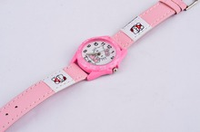 Children hello kitty watch 3 colors leather strap quartz wristwatch 2015 pink red rose red hellokitty