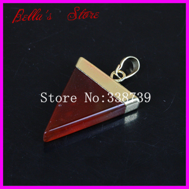 10PCS Gold Tone Triangle Carnelian Agate Slice Druzy Drusy Quartz Gem Stone Healing Chakra Pendant Gift fit Necklace(China (Mainland))