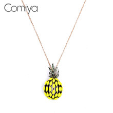 Buy Comiya Fruit Yellow Pineapple Necklaces & Pendants Gold Wweater Chain Long Necklace Women Bijoux Summer Jewelry Accessories for $2.25 in AliExpress store