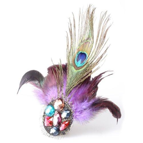 TFGS 5 x (Purple Peacock Feather Crystal Rhinestone Hair Clip Fascinator(China (Mainland))