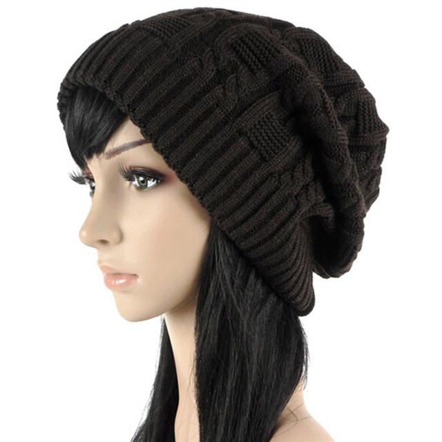 Свободного покроя женщины шапочки skullies, 5 цветов теплый полосы трикотажные Gorros ...