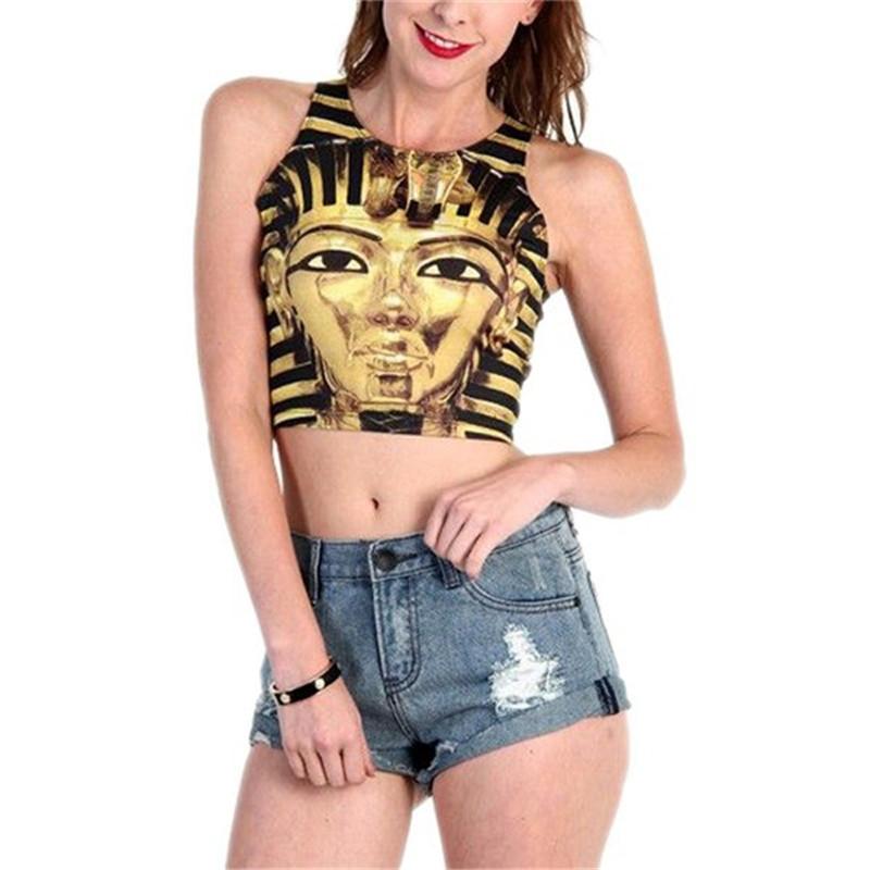 Wholesale Fashion Women Cartoon Short Tank Top Sleeveless Crop Tops T-Shirt