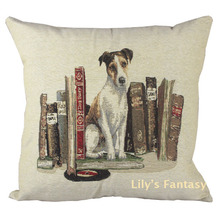 Retro Vintage Jack Russell Terrier Dog Book Thick Knitted Cotton Linen Pillow Case Cushion Cover