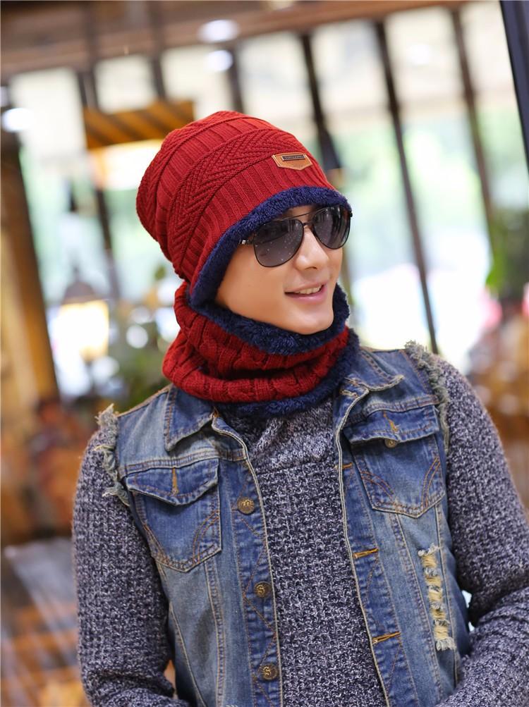 Winter Wool Knitted Cotton cap scarf Men Women Plus Velvet Hat Scarf Warm Outdoor Sport Hats For Gorro Bonnet HT-129