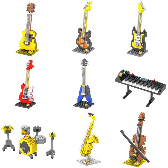 Loz Musical Instruments Series Diamond Building Blocks DIY Toy Kids Children Educational Guitar Keyboard Violoncello Drum set(China (Mainland))