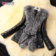 New fashion ladies elegant fur & leather coat sexy fox fur collar  Slim long-sleeve outwear plus size fur jacket women fur coat
