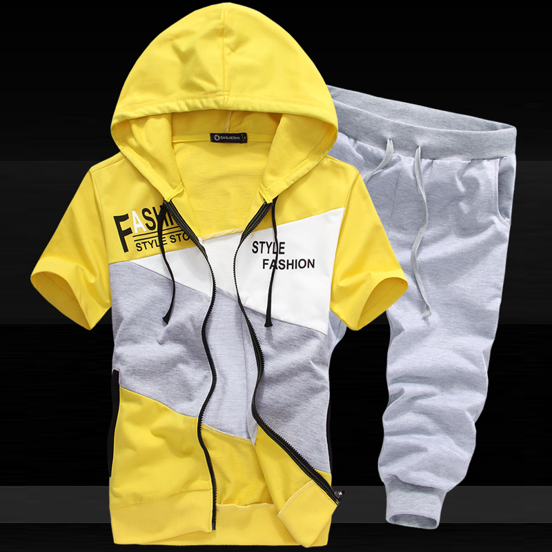 Fashion Hoodies Sweatshirts Contrast Color Outerwear Clothing Men Outdoor sport suit Boys Sports Suit FreeShipping - LONMMY store