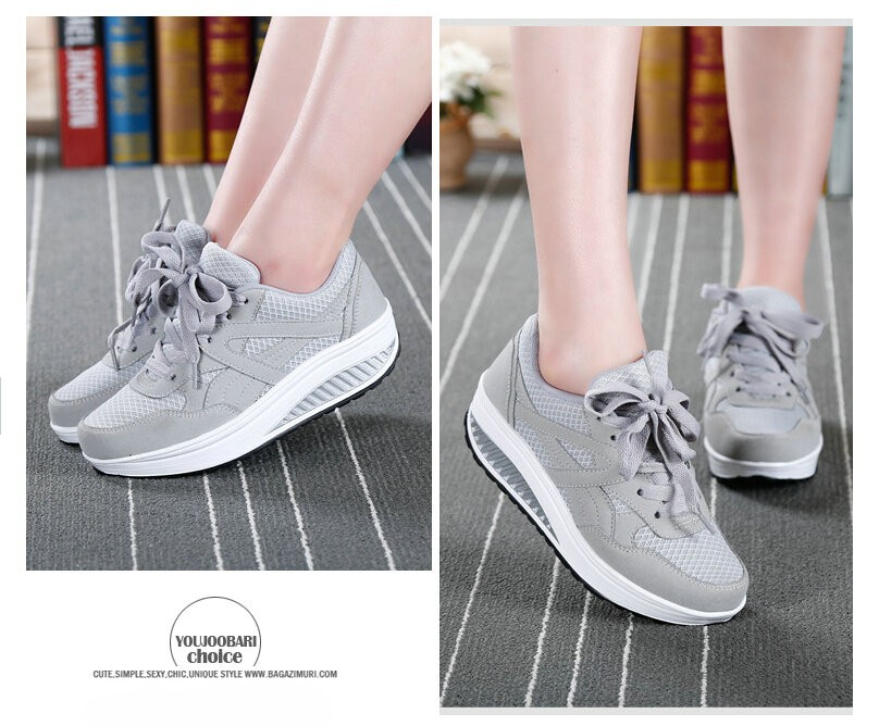 2016 Women Spring/Summer Breathable Platform Casual Shoes Womens Walking Shoes Woman Lose Weight Swing Shoes chaussure femme
