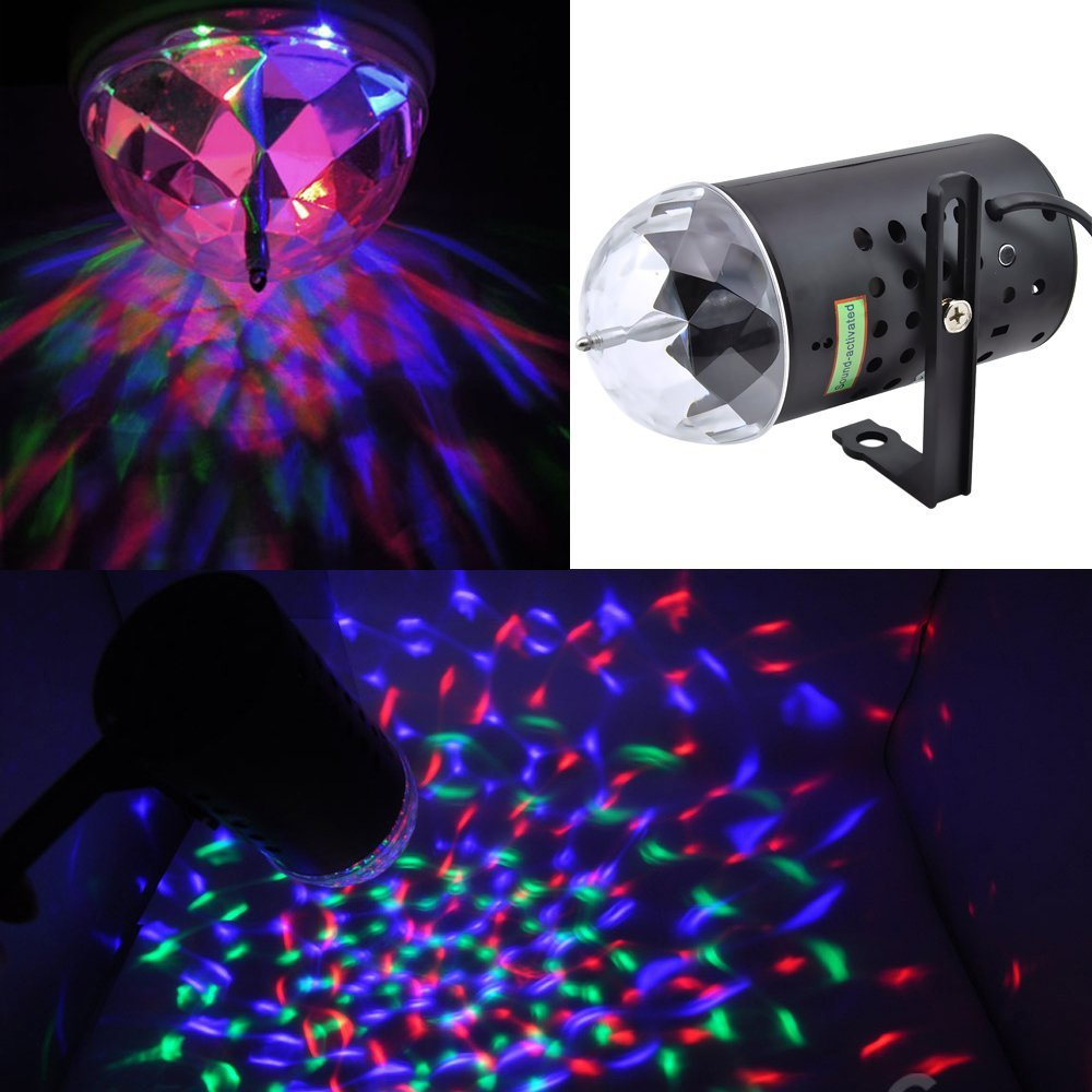 3W Colorful RGB Stage LED Crystal Light DJ Disco KTV Xmas Party Wedding Show Club Pub Lamp--Voice-activated Rotating - ALL FIVE STARS TECH store