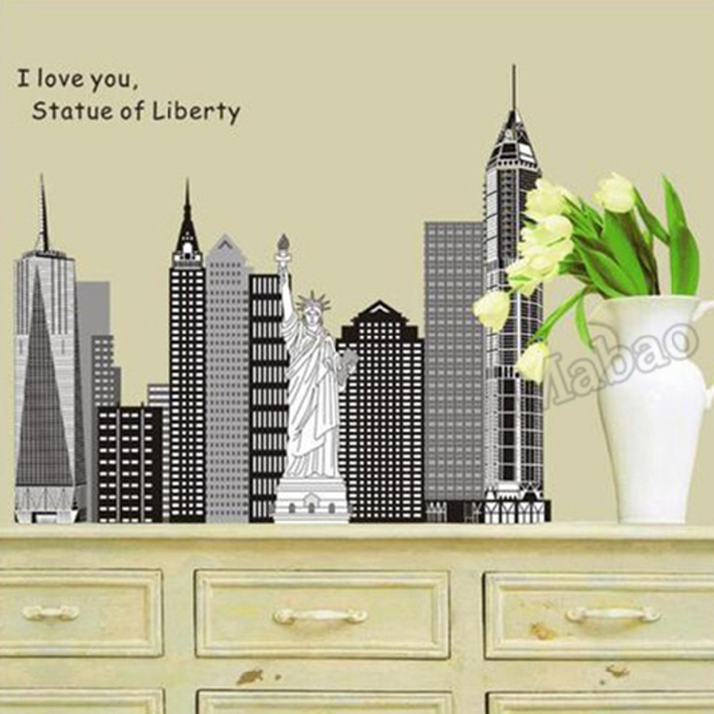 Mabao new york statue of liberty wall stickers home decor for New york decorations for the home