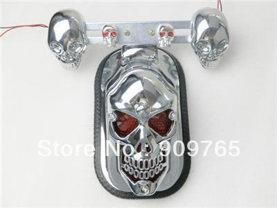 Chrome Skull Integrated Rear Tail Light Side Mount Plate w/ Turn Signal for Harley Fat Boy Custom Deluxe CVO XL883 Night Train(China (Mainland))