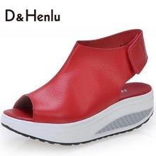 {D&H}Solid Swing Platform Women Sandals Lady's  Wedges Sandals Summer Genuine Leather Platform Shoes/Red/Black/Brown(China (Mainland))