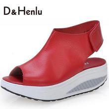 {D & H} Solide Swing de Plate-Forme Des Femmes Sandales Dame Coins Sandales D'été Véritable Plate-Forme En Cuir Chaussures/rouge/Noir/Brun(China (Mainland))