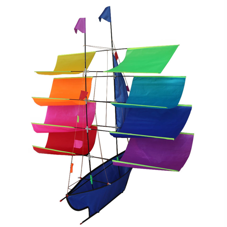 Tresbro 3D Boat Kite Flying Single Line Kite Ripstop Nylon Accessories Set With Bag Reel Line Beach Toy For Children and Grownup(China (Mainland))