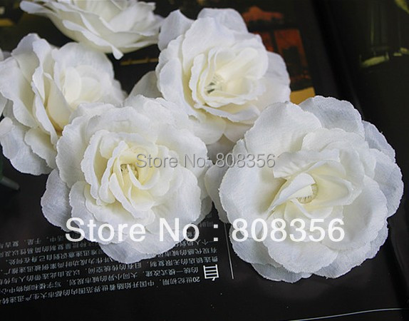 100PCS Creamywhite Artificial Silk Simulation Flower Head Rose Camellia Peony Flower Head 7cm Wedding & Christmas Freeshipping