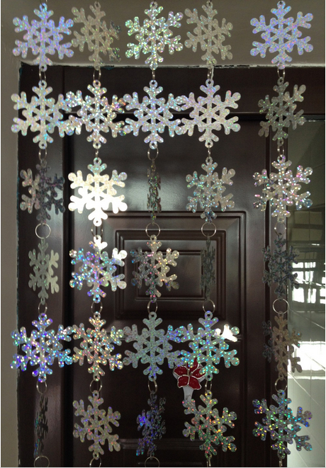 5 strands / lot PVC sequins laser silver snowflake curtain,Christmas party and home decoration Free shipping