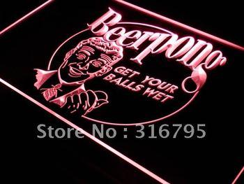 j310-r Beer Pong Get your Balls Wet Bar LED Neon Light Sign