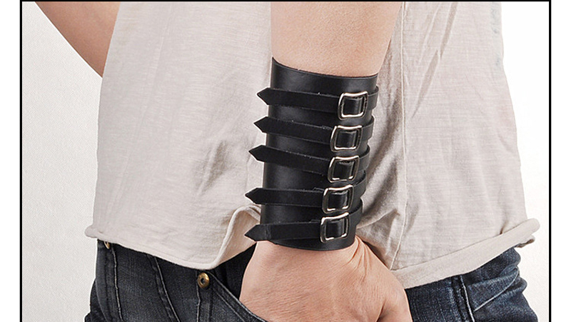Fashion Designer Black Punk Style Cuff Belt Leather Bracelets Wide Wristband Vintage Buckle Rock Bangles For Men Handmade Bijoux(China (Mainland))