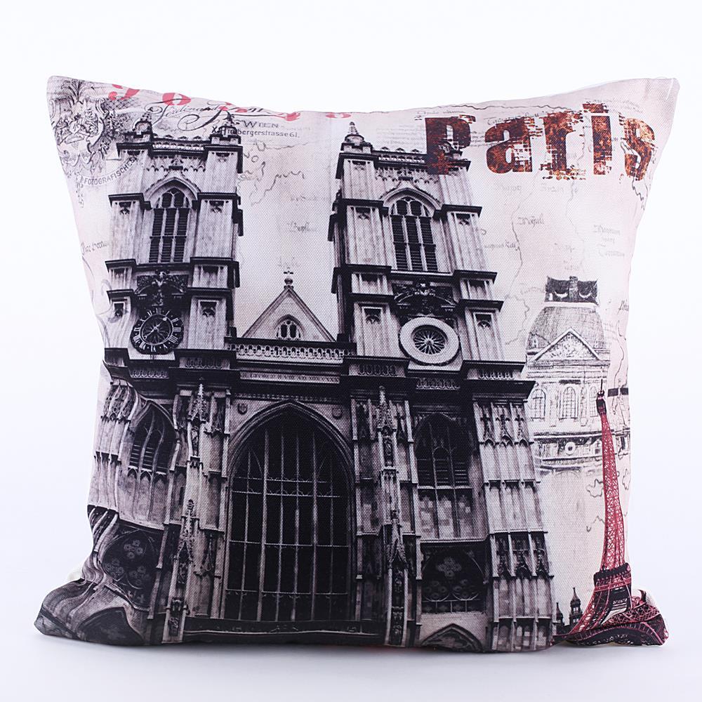 "18*18"" Rtro Vintage Paris Church Printed pillow massager Sofa decorative Pillow Case Home Textile Bedding Accessories(China (Mainland))"
