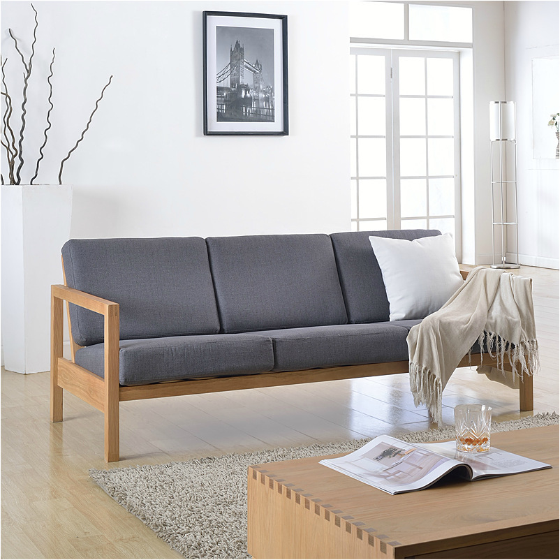 Japanese Style Furniture Cotton And Linen Solid Oak Wood Sofa Chair Sofa Combination 2 Types In