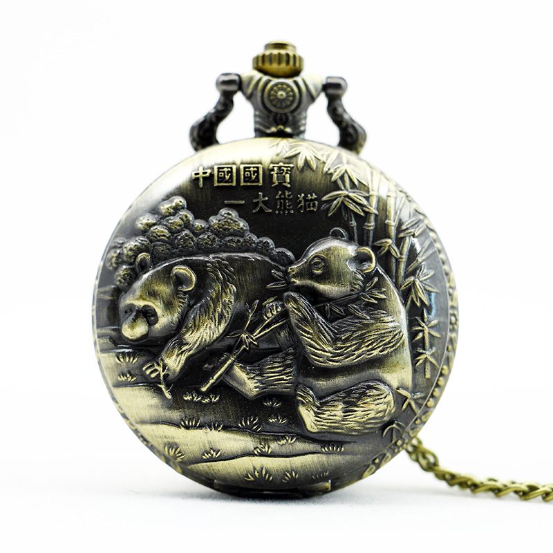 PB363 Unique Vintage China Giant panda Theme Pocket Watch Necklace Bronze Pendant Gift(China (Mainland))