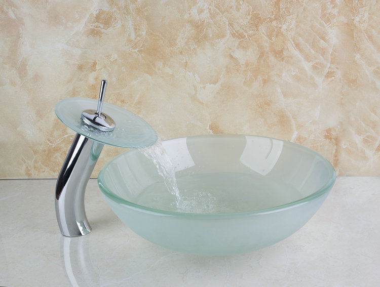 Round Scrub Manufacture Good Price Construction Real Estate Bathroom Basin Vessel Faucet Tap Lavatory Glass Basin