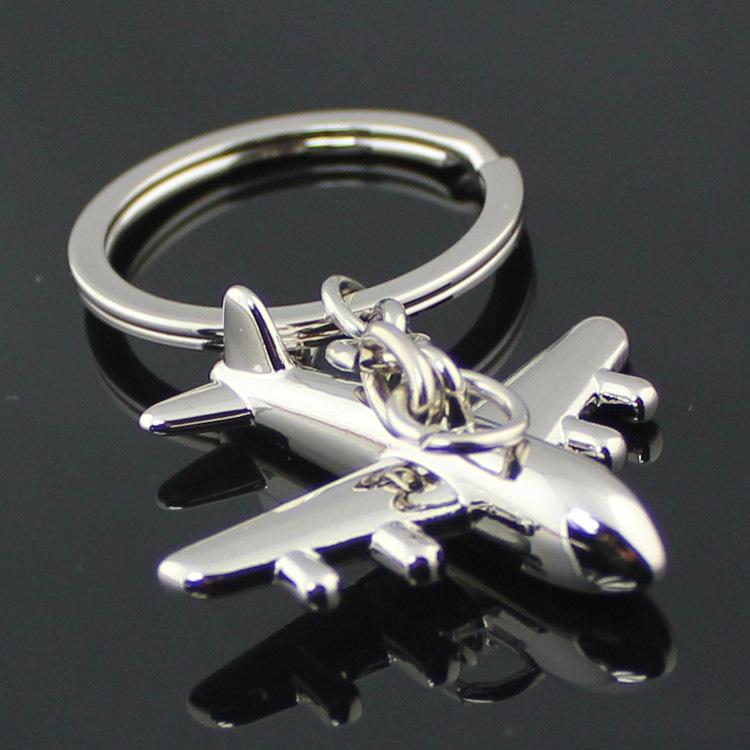 Civil Airline Plane Keychain Fashion Polished Silver Aircraft Airplane Model Metal Key Chain Ring Keyfob Keyring 86091(China (Mainland))