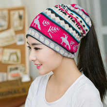 New Arrival Cute Deer style Women Beanies Knitted Winter Hats 2 Colors Hip-hop Flower  Skullies Spring Cap Winter Gorro