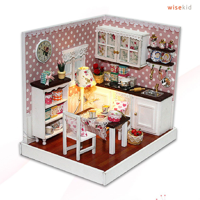 w168 petit bois maison de poup e cuisine miniature kit bricolage pour enfants dans kits de. Black Bedroom Furniture Sets. Home Design Ideas