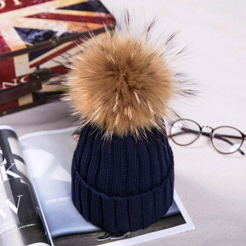 15cm big real fox fur pom poms and knitted beanies winter hat for women girl 's Skullies hat wholesale(China (Mainland))