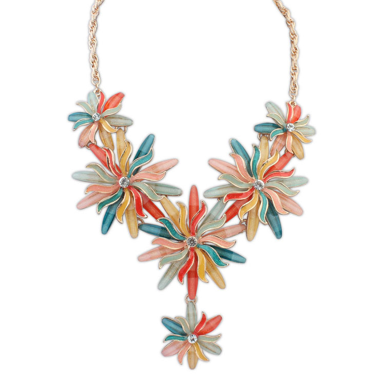 New Arrival Exaggerated Personality Chrysanthemum Punk Mental Necklace Clain For Women Hotsale Collar Choker Jewelry 9962(China (Mainland))