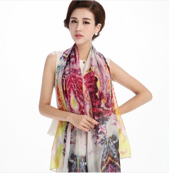 Best Gift Chinese Real Silk scarves charming women pashmina International style scarf ladies' Shawls Wraps - HEHE Professional Sportswear Center store