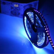 High brightness 1/5m UV Ultraviolet 395-405nm led strip light DC12V 5050 60leds/m purple flexible tape black lamp identify money(China (Mainland))