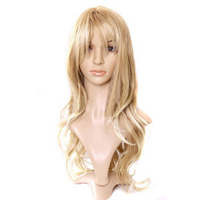 Charming Blonde Long Wavy Costume Wig Hair Women's Fashion Wig Curly Hair Wigs With Bangs Long Curly Hair Hot Selli B2C HB88(China (Mainland))