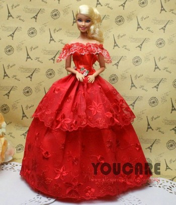 100 Pcs / Lot Wholesale Doll Equipment Stunning Elegant Marriage ceremony Clothes Garments Night Costume for Barbi Doll Free Transport