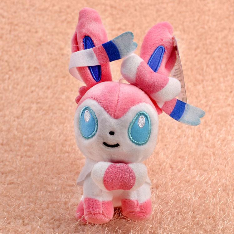 12CM Pokemon Eevee Sylveon Plush Toy Pokemon Plush Toy Animals kawaii Soft Stuffed Plush Doll Baby Toys Brand New With Tag(China (Mainland))