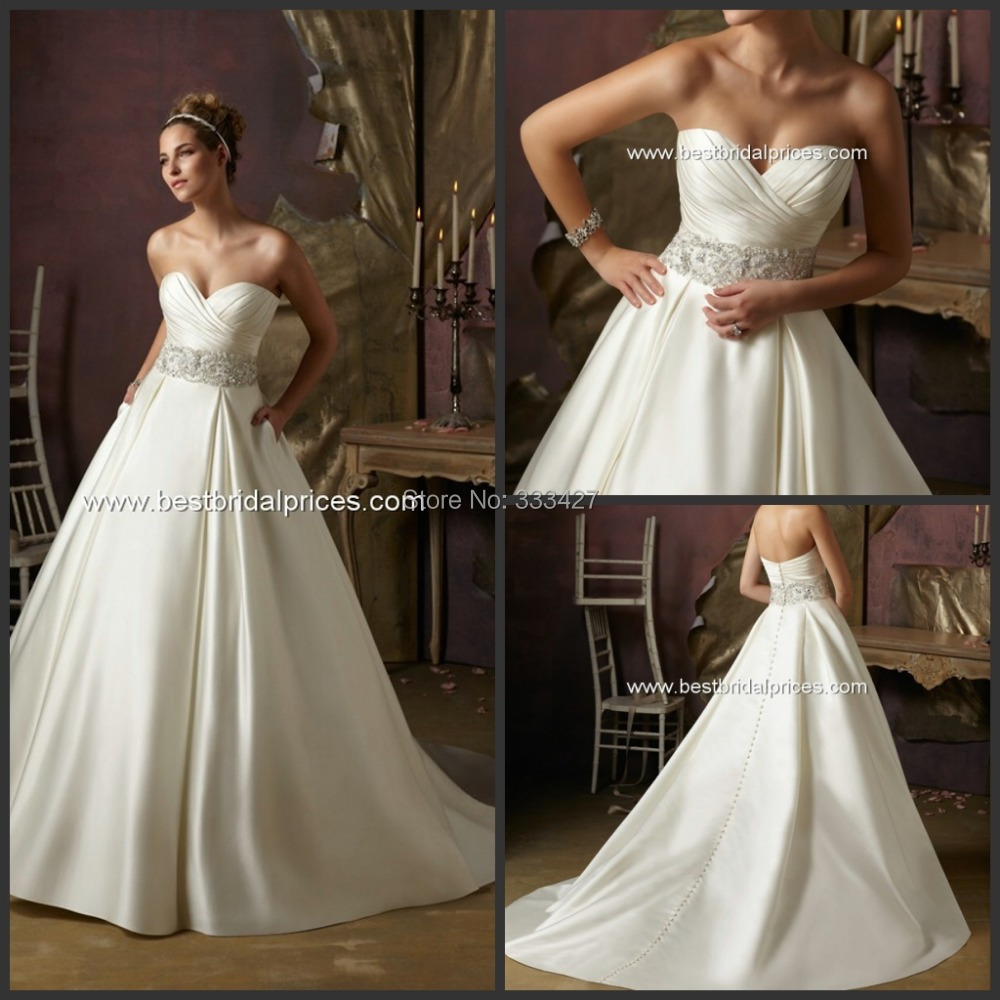2015 Satin Sweetheart Floor Length Wedding Dresses A Line
