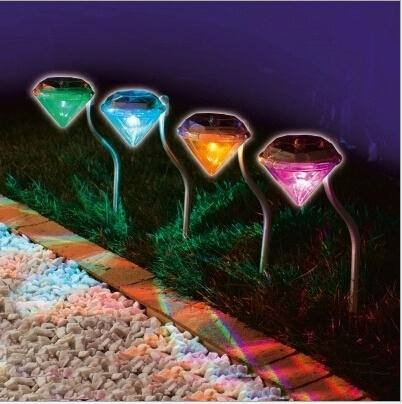 decorative 100% solar power led solar light outdoor led solar lights Diamond Yard lighting Stainless Solar lawn light for garden(China (Mainland))
