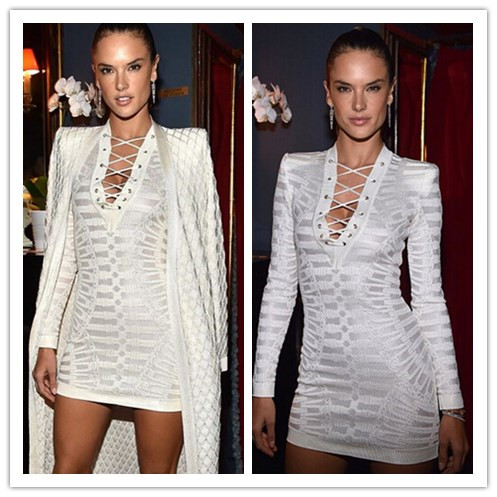Newest Celebrity White Long Sleeve V-neck Jacquard Bandage Dress Hollow Out Party Bodycon DressОдежда и ак�е��уары<br><br><br>Aliexpress