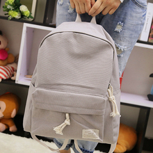 Fresh partysu style candy color design canvas simple women backpack middle school student book bag leisure backpack(China (Mainland))