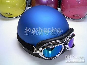 New Halley Scooter Half Vespa Motorcycle Open Face Matte Blue Helmet & Goggles + Visor For Free