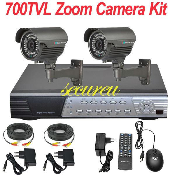 Cheap best 2ch cctv kits security thermal system 700TVL zoom lens cctv surveillance equipment 4ch HD DVR digital video recorder(China (Mainland))