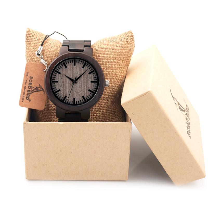 БОБО ПТИЦА Мужчины Часы Дерево Ремень Наручные Часы Япония Движение 2035 Кварц Деревянные Часы в качестве Подарков для Мужчин C30