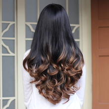 Synthetic Half Wig Curly Hair Long Wavy Ombre Half Wigs for Women Female Curly Fake Hair Wig Cheap Realistic Ladies Drag Queen(China (Mainland))