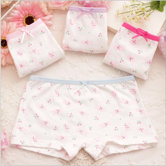 2015 Children's cotton underwear female cartoon printed baby bunny girls underwear boxer briefs kids panties wholesale GU031