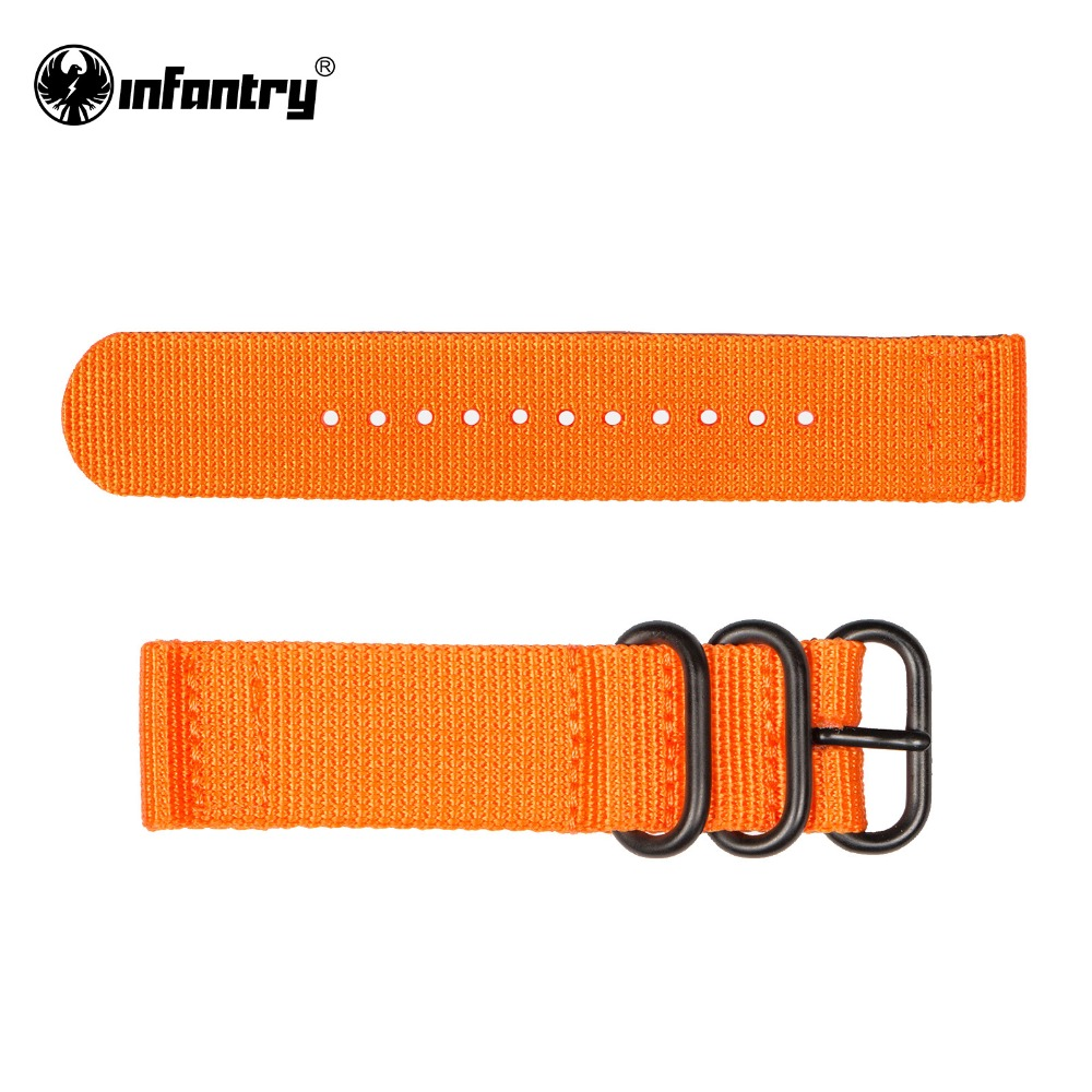 INFANTRY 20 mm/ 22 mm Top Quality Durable New Fashion Orange Waterproof Watchband  Fabric Canvas Stainless Steel Bukles<br><br>Aliexpress