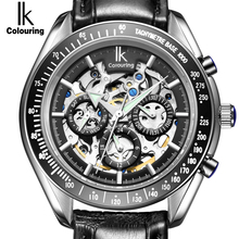 IK Brand Luxury Automatic Mechanical Watches Men Sub Dial function Date 24 hours Display Genuine Leather Skeleton Watch relojes(China (Mainland))